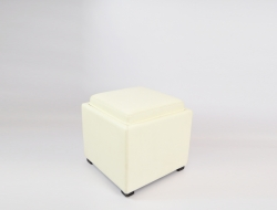 White Ottoman with Storage