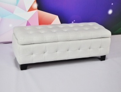 Long White Ottoman with Storage