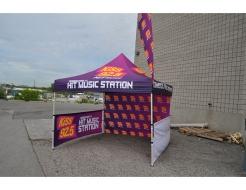 10' Full Dye Sub Tent, Full Wall & Half Walls, Teardrop Flag
