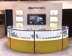 Nikon Custom Display with LED Screens and Custom Display Cabinet