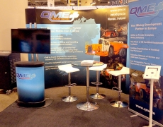 QME Mining 10' Curved Pop up with Vinyl Graphics and Billy Banner Stand