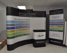 10' Curved Pop up with Case wrap and Banner Stand - Vinyl Graphics