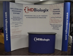 10' Curved Pop Up with Counter - Vinyl Graphics