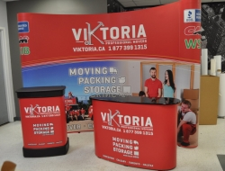 10' Curved Pop up with Graphic case wrap and Pop up Counter
