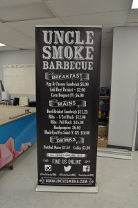 Uncle Smoke BBQ banner stand